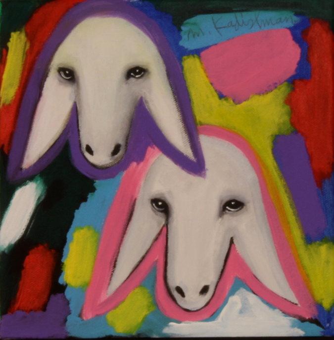 מפואר שני ראשי כבש צבעוני, מנשה קדישמן - עבודה למכירה RL-15