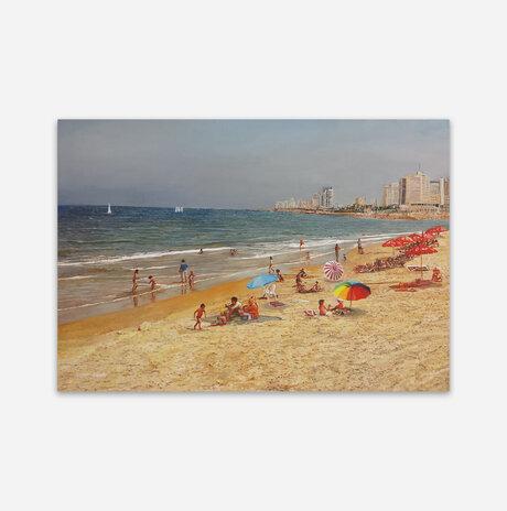 Beach umbrellas on Tel Aviv beach / Nurit Shany